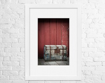 Rustic home decor 4x6 inches fine art photo print Vintage chest near an old wall Marsala red wall art