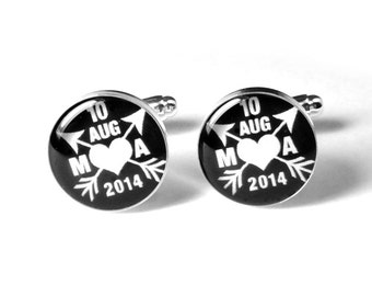 Custom Cufflinks, Personalized Groom Cufflinks, Fiance Cufflinks, Wedding Cufflinks, Groom Gift, Gift for Him, Anniversary Gift