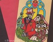 Day of the Dead WEDDING Invitation Folded Greeting Card Bride Groom Couple Love