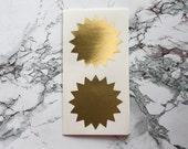 12 Extra Large Metallic Gold Starburst Stickers, Wedding Favor, Envelope Seal, Gold Stickers, Award Stickers, Star Stickers