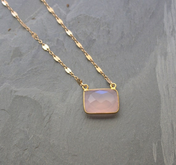 Pink Chalcedony Necklace, Gold Filled Chain, Emerald Cut,  Rose Quartz Pendant, Gold Jewelry, Pink Rose Stone Pendant Necklace, ViaLove