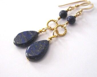 Lapis Lazuli Gemstone Goldfilled Earrings, Teardrop Shape Dangles