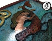 La Sirena Durmiente Sleeping Mermaid Mixed Media Art Mermaid Handcolored Copper Artwork