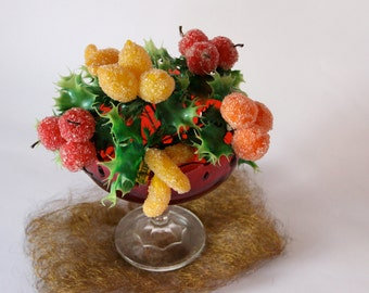 Sugared Plastic Fruit Clusters and Holly - Six  Available - Retro - Ornaments - Apples - Oranges - Lemons - Bananas - Made in Hong Kong