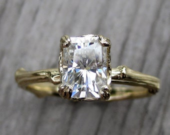 Emerald Moissanite Twig Engagement Ring: 1.2ct Forever Brilliant™ Radiant Cut