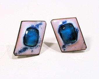 Kay Denning Earrings, 60s Artisan Earrings, Blue Glass White Enamel Copper Screw Back Earrings, FREE US shipping