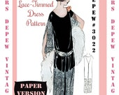 Vintage Sewing Pattern Instructions 1920's Flapper Easy One Piece Lace Panel Dress Booklet Depew 3022 -PAPER VERSION-
