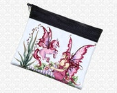 Amy Brown Pink Faery Horse, school supply zippered pouch wristlet, travel bag,