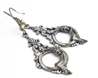 She Hung the Moon Silver Dangle Earrings Crescent Moon Jewelry