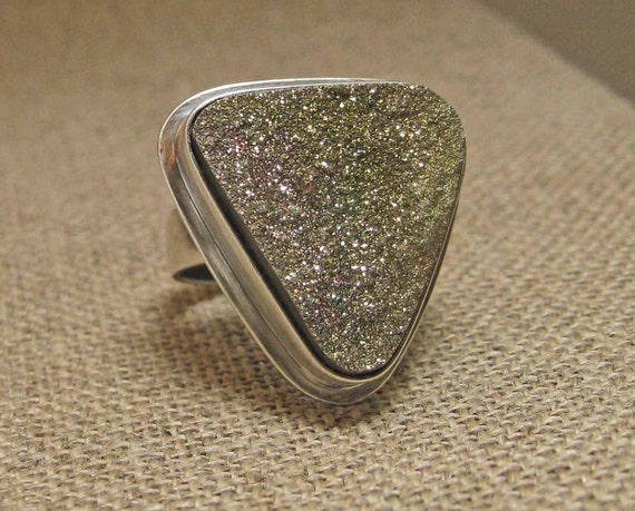 Rainbow Pyrite Stone Ring set in Sterling Silver Size 6.5