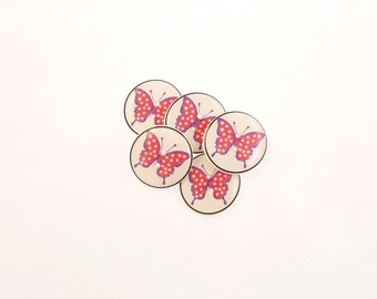 """5 Butterfly Buttons. Pink Polka Dot Butterfly Handmade Buttons for sewing. 3/4"""" or 20 mm."""