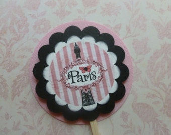 Paris cupcake toppers, shabby chic, french themed, pink and black, eiffel tower,  party decor - set of 12