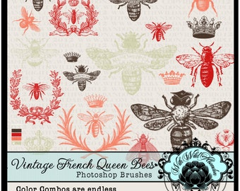 Bee Photoshop Brushes Queen Vintage French Wreath Clipart Crown Digital