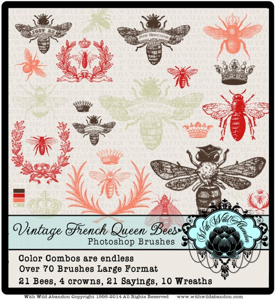 Bee Photoshop Brushes Queen Vintage French Wreath Clipart Crown Digital Stamp Or Overlays Instant Download