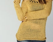 Hand knit sweater- Eco cotton sweater in Mustard Yellow