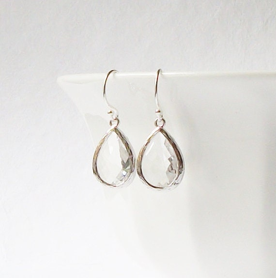 LAST ONE Clear Crystal Drop Earrings