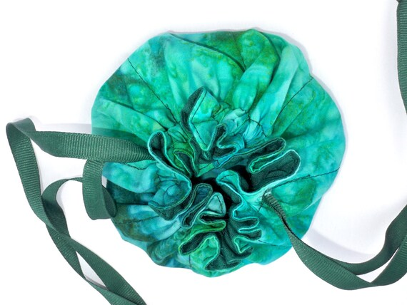 Drawstring bag cloth pouch batik pattern green teal for Drawstring jewelry bag pattern