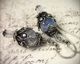 White Bridal Earrings, Victorian Bridal Earrings, Small Drop Earrings, Renaissance, Medieval Wedding, Handfasting, Castle Wedding, Rhiannon