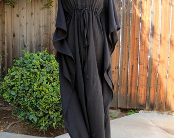 Caftan Maxi Dress - Beach Cover Up - Kaftan - Muumuu - Black