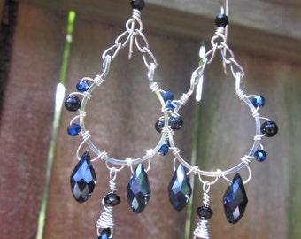 Silver Chandelier earrings // Black and blue crystal chandelier earrings //