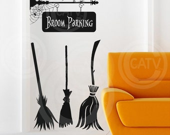 Halloween Witch broom parking set vinyl lettering wall decal sticker decor crow