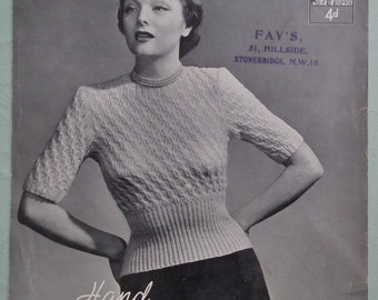 Vintage 1930s 1940s Knitting Pattern Womens Sweater Jumper 30s 40s original pattern Lister Lavenda UK No. 1088 textured stitch short sleeves