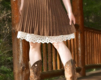 Slip Skirt Extender Ivory A-line Half Slip Choose the Lace Petticoat Made to Order Shabby Chic Off White Natural Cotton Bamboo Blend Mori