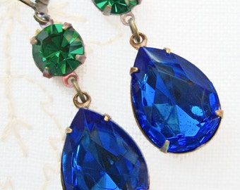 Christmas Party Jewelry - Sapphire Earrings - Emerald Earrings - Victorian Earrings - Crystal Earrings - ANGELINA Royale