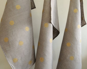 Metallic Gold Polka Dot on natural gray hand block printed linen tea towel hostess gift set of three