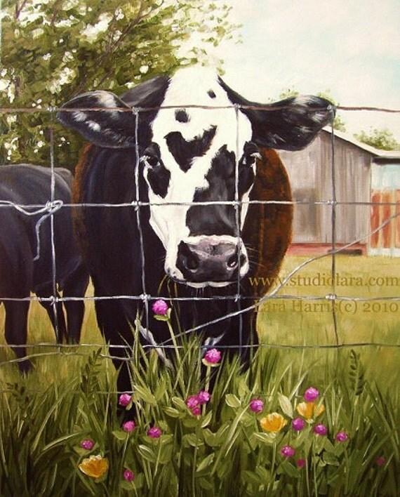 11x14 French Cow Fine Art Giclee Print by LARA