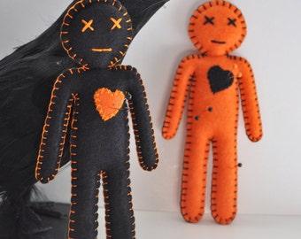 Voodoo Doll Break up doll, hand sewn by HibouDesigns, Halloween black and orange favors dolls, As Seen in Stuffed Magazine, OOAK