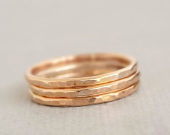 Rose Gold Rings stacking rings three hammered 16 gauge ring Mothers Day Gifts hammered stackable rings