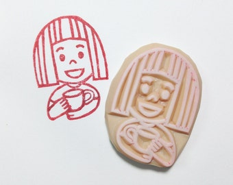 kokeshi girl stamp. hand carved rubber stamp. tea party stamp. diy birthday christmas scrapbooking. afternoon tea props. gift wrapping