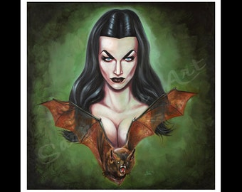 vampira- prints from original oil on canvas-sized to frame signed by the artist