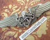 Steampunk Pin Flying Octopus Flight Wings Gothic Victorian Steampunk Brooch Antiqued Silver Metal Pilot Wings Badge Primitive Antique Finish