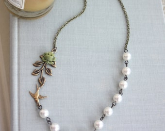 Swallow Bird Leaf Necklace, Ivory Or Olive Flower, Cream Pearls. Brass Bird, Brass Leaf, Swarovski Pearls Necklace. Rustic Bridal Necklace
