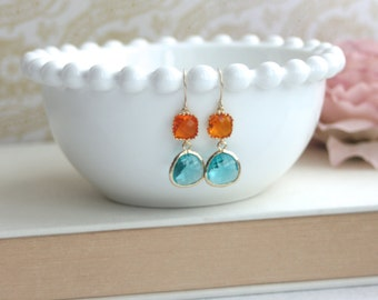 Orange and Turquoise Blue Earrings, Framed Glass Drops Earrings. Bridesmaids Gifts. Modern Jewelry. Orange Blue Wedding. Turquoise Earrings