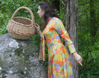 60s Silk Dress / Vintage Helga Flower Floral Print Dress / 26 Inch Waist