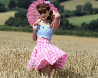 Gingham Circle Skirt, High Waisted Rockabilly Skirt, Checked 1950's Skirt, Gingham Swing Skirt, Sizes:UK 4-22/US 0- 18, Choice of Colour