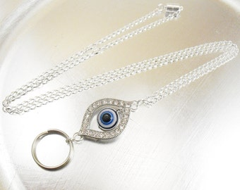 Rhinestone Evil Eye Charm Style Oval Link Chain OR Leather Cord ID Lanyard, Badge Holder, Key Chain Necklace