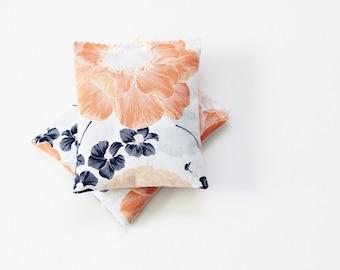 Peach & Navy Floral Sachets, Lavender Scented Drawer Sachets, Modern Boho Women Gifts, Gift for Girlfriend Birthday