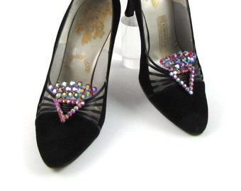 Fancy Footwork - Vintage 1960s Rhinestone Shoe Clips, Red Aurora Borealis Stones, Large Triangle Fan Shape, Real Showstoppers