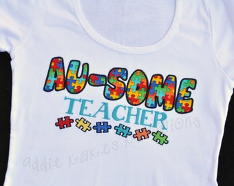 Autism Awareness Au-some Teacher Shirt