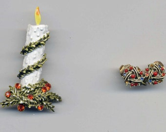 Vintage Christmas Jewelry Unsigned Earrings and Candle Brooch