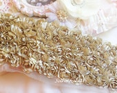 """Mocha Satin Shabby 5 Rows Rosette Trim- 2.75""""x 1 yard for Boutique Dresses, Bloomers, Altered Crafts"""