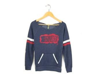 Imagination Sweatshirt - Scoop Neck Raw Edge Long Sleeve Fleece Pocket Sweater in Navy Rugby Sporty Stripe - Women's Size S-XL Q