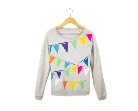 Triangle Bunting - Relaxed Fit Hand Stenciled Banner Slouchy Scoop Neck Eco Fleece Sweater in Ash Grey Multi Rainbow - Women's S M L XL