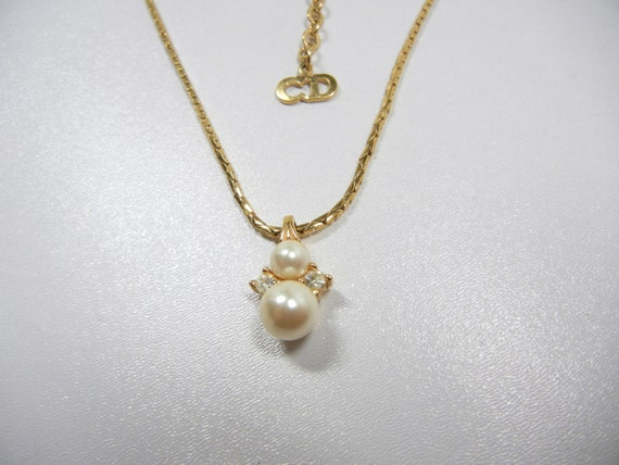 Signed Christian Dior Necklace Pearl Dior Necklace