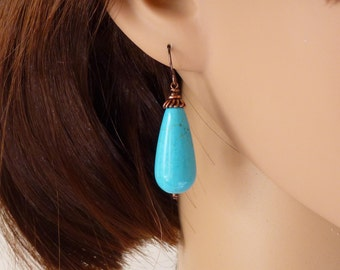 Large turquoise earrings, copper earrings, turquoise jewelry, copper jewelry