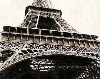 Paris Photography, Eiffel Tower Vintage Sepia Print, Eiffel Tower Architecture Sepia Print, Paris Eiffel Tower Prints, Paris Wall Art Prints